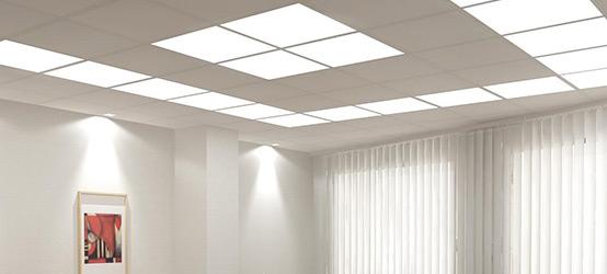 Подвесной потолок с лампами
